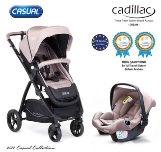CASUAL - Cadillac Trona Travel Sistem Bebek Arabası - Cream